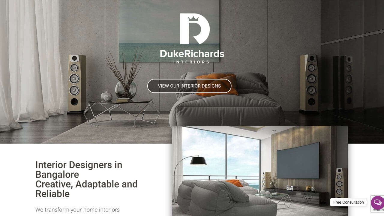 Duke Richards Interiors Website Design and Development - Home Page