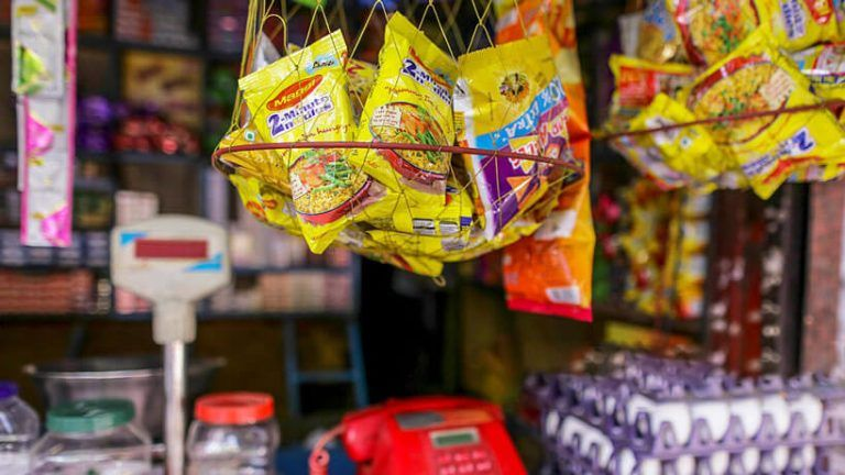 nestle maggi packets displayed in hanging basket in stores as part of their marketing design and strategy