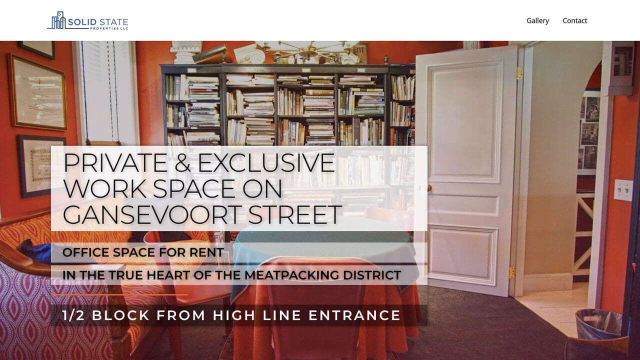 Meatpacking District Office Space Website Design Development - Home Page