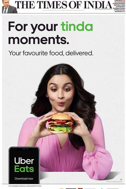 Uber eats newspaper print ad tinda moment - Times on India