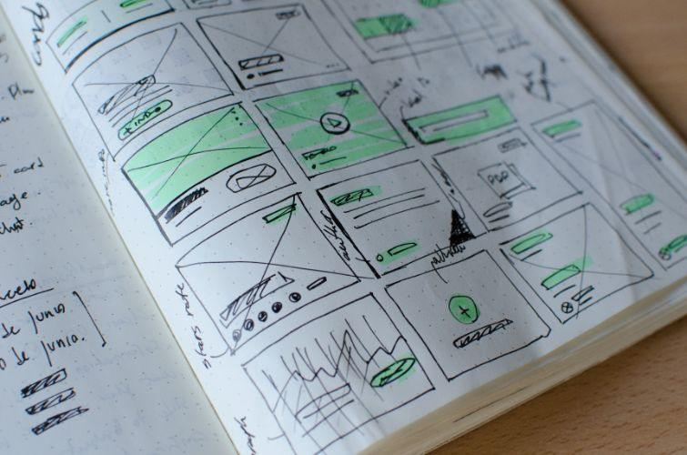 Website Design Wireframes on Paper
