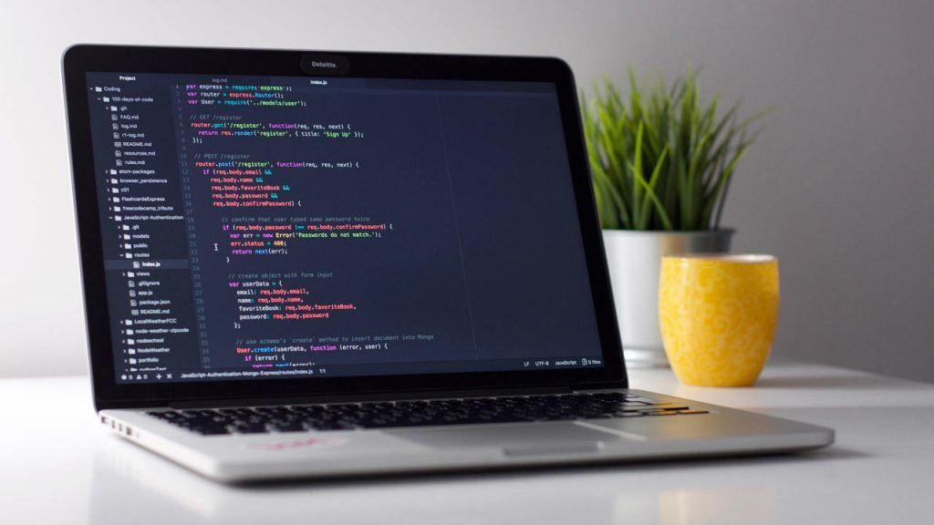 Website Development Coding on Laptop