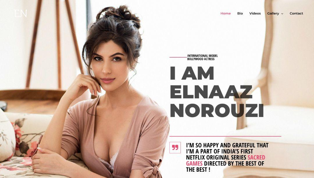 website design and development for actress home page design elnaaz norouzi
