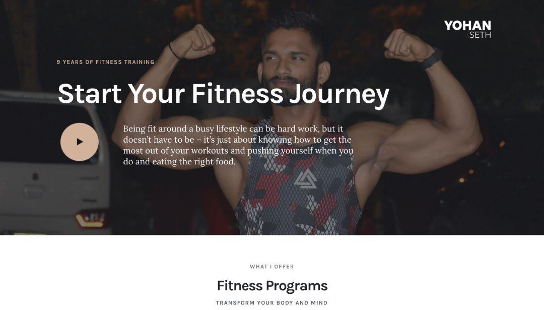website design development fitness coach srilanka homepage design