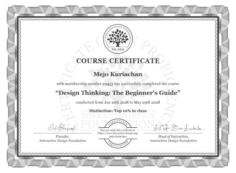 Design Thinking The Beginners Guide Course Certificate