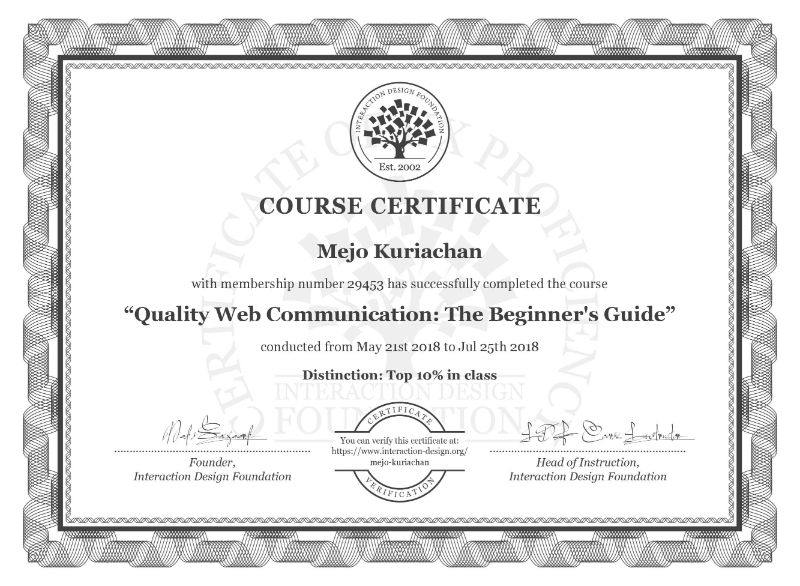 Quality Web Communication The Beginner's Guide Course Certificate from Interaction Design Foundation for Mejo