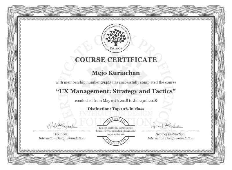 UX Management Strategy and Tactics Course Certificate from Interaction Design Foundation for Mejo