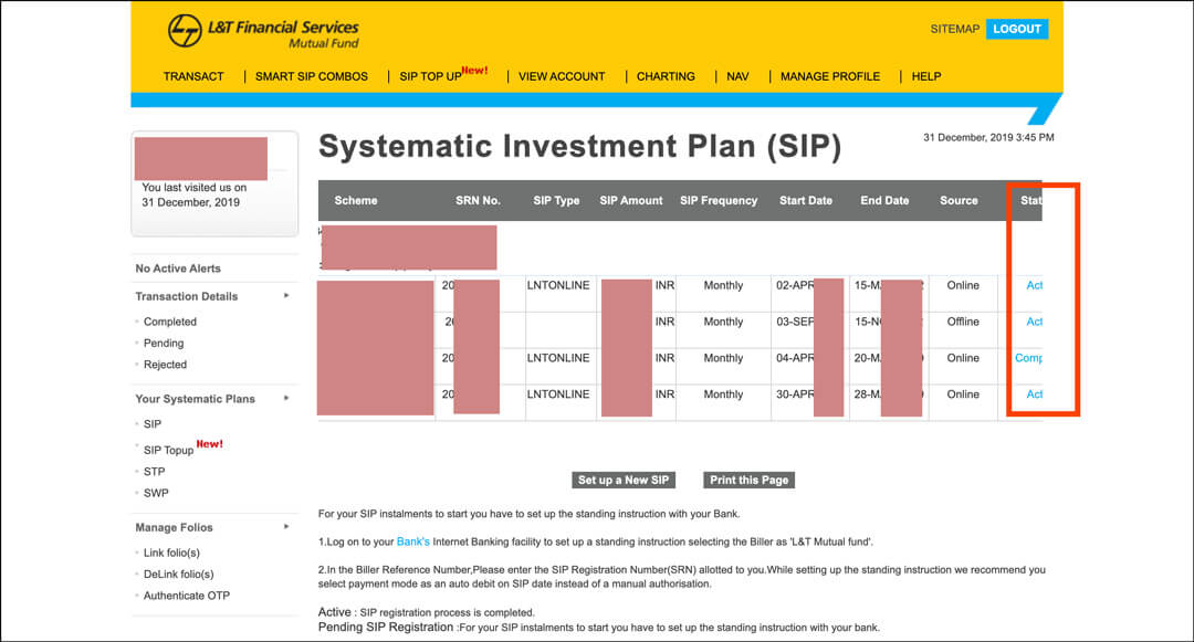 Bad UI UX example financial sector L&T Mutual Fund