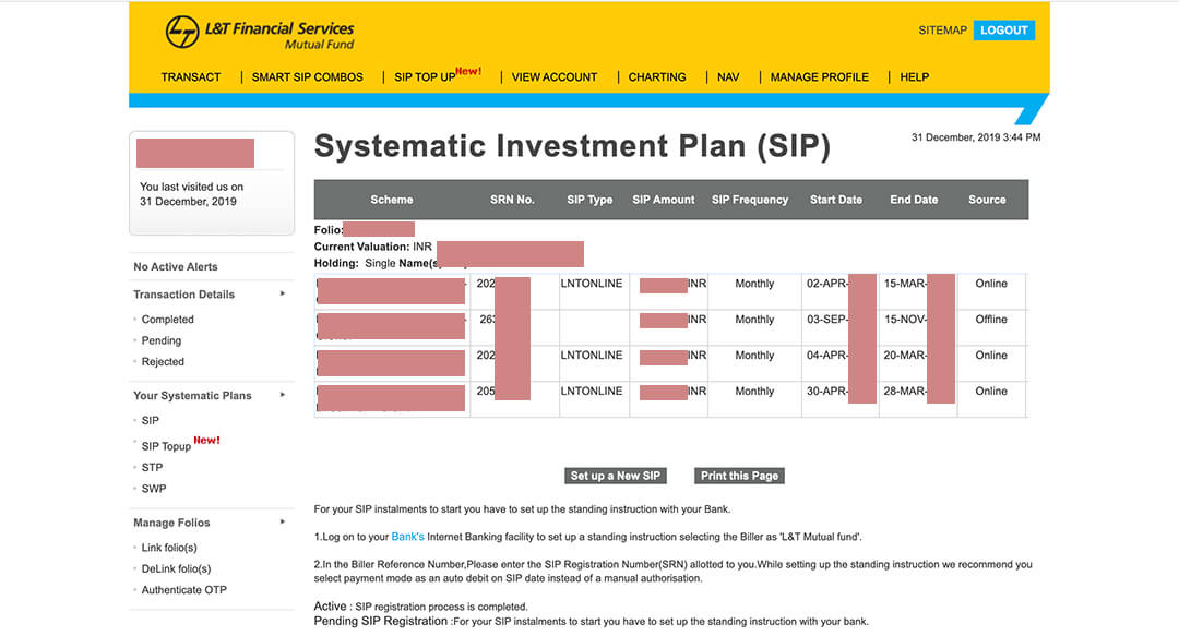 Bad UI example financial sector L&T Mutual Fund
