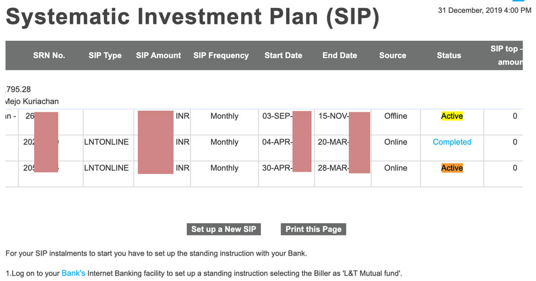 financial sector bad UI example LT Mutual Fund