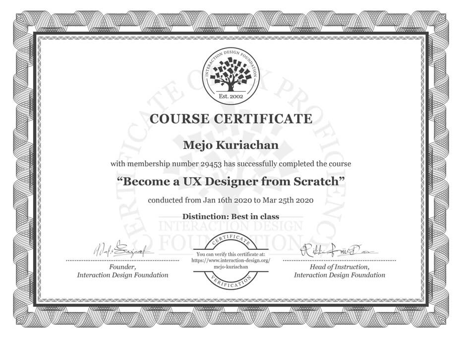 Become a UX Designer from Scratch Course Certificate