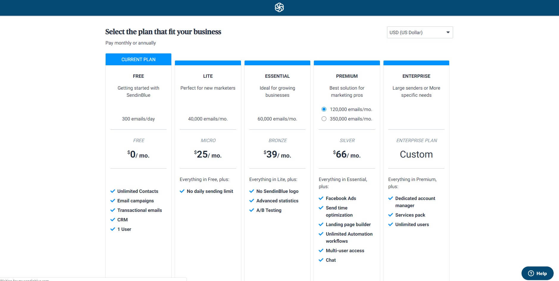 Pricing Page Sendinblue On Boarding