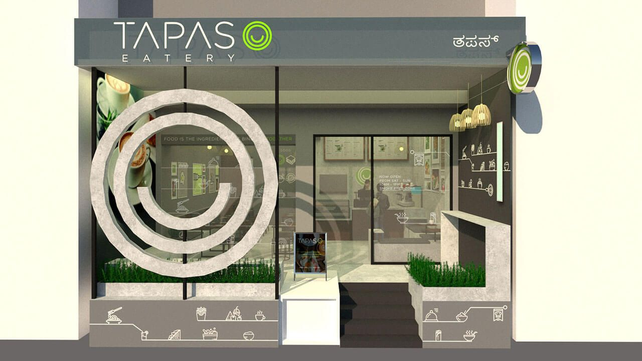 coffee shop branding tapas eatery facade design